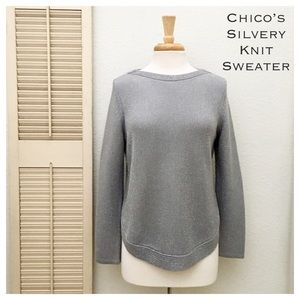 Chico's Silvery Gray Knit Popover Boatneck Sweater